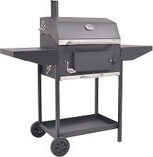 BBQ Charcoal Smoker with Bottom Shelf Black -