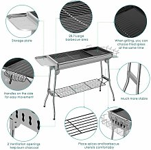 BBQ Grill, Stainless Steel Barbecue Grill Smoker