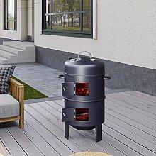 BBQ Smoker Upright Barrel Black Charcoal 3 in 1