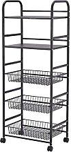 BBZZ 5-Tiered Narrow Rolling Storage Shelves,