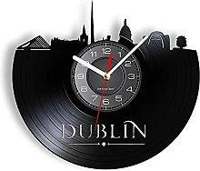 BBZZL Barcelona Cityscape Retro Vinyl Wall Clock