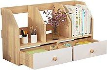 BCLGCF Office Desktop Bookshelf, Wooden Desk