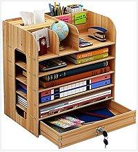 BCLGCF Wood Desk Organizer, Multi-Layer Drawer