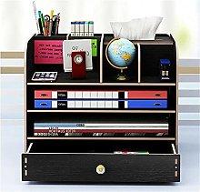 BCLGCF Wooden Desktop Organizer with Drawer,