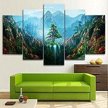 BDFDF Framed Wall Art 5 Piece Canvas Art Colorful