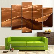 BDFDF Framed Wall Art 5 Piece Canvas Art Desert