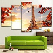 BDFDF Framed Wall Art 5 Piece Canvas Art Eiffel