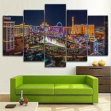 BDFDF Framed Wall Art 5 Piece Canvas Art Las Vegas