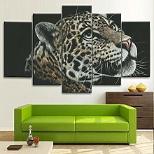 BDFDF Framed Wall Art 5 Piece Canvas Art Leopard