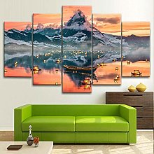 BDFDF Framed Wall Art 5 Piece Canvas Art Mountain