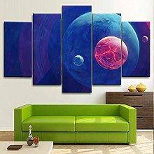 BDFDF Framed Wall Art 5 Piece Canvas Art Planets
