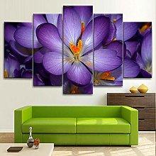 BDFDF Framed Wall Art 5 Piece Canvas Art Purple