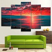 BDFDF Framed Wall Art 5 Piece Canvas Art Sea Side