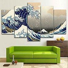 BDFDF Framed Wall Art 5 Piece Canvas Art Sea Wave