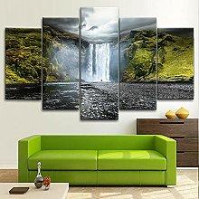 BDFDF Framed Wall Art 5 Piece Canvas Art Skogafoss