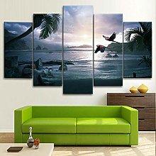 BDFDF Framed Wall Art 5 Piece Canvas Art Tropical