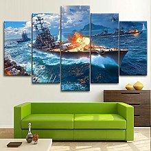 BDFDF Framed Wall Art 5 Piece Canvas Art War Ship