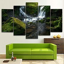 BDFDF Framed Wall Art 5 Piece Canvas Art Waterfall