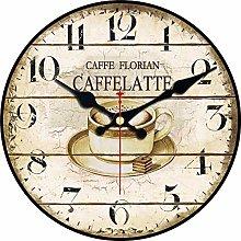 Bdhbeq Retro Wooden Wall Clock Cafe Cream Ai Tour