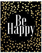 Be Happy Framed Textual Art Print on Canvas in