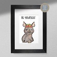 Be Yourself - Hippo Print | Nursery Art Wall |
