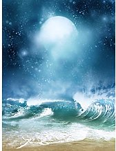 Beach And Moon Digital Collage Large Wall Art