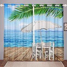 Beach Curtain for Bedroom Child Ocean Surf
