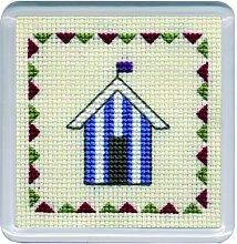Beach Huts Coaster (Blue Stripe)