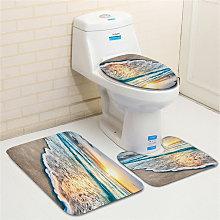 Beach Pattern Bathroom Mats 3PCS Bath Mat Set