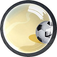 Beach Sand with Football Cabinet Pulls Glass 4 Pack