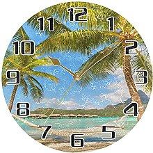 Beach Sea Ocean Wall Clock Silent Non Ticking,
