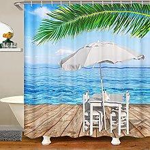 Beach Shower Curtain for Ocean Surf Bathroom