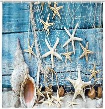 Beach Starfish and Seashells Shower Curtain, Teal