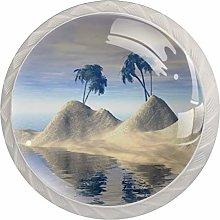 Beach Water Palm TreesRound Glass knob White