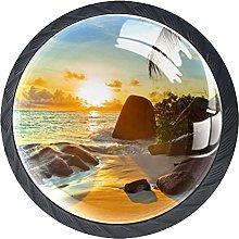 Beach with Sun Crystal Glass Drawer Knob Pull