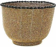 Beaded Candy Bowl Basket, Medium, Black/Gold