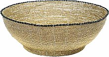Beaded Fruit Bowl Basket, Large, Black/Gold