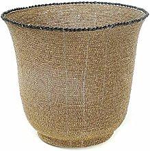 Beaded High Bowl Basket, Large, Black/Gold