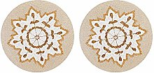 Beaded Placemat 2 Pack- Snowflakes Round Hand