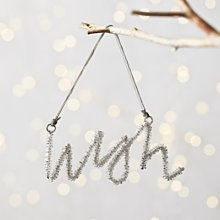 Beaded Wish Christmas Decoration, Silver, One Size