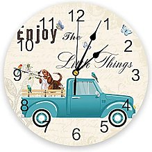 Beagle Dog And Truck Vintage Letters 3D Wall Clock