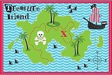 Beamfeature - COUNTRY CLUB Designer Mat 'Treasure Island' Kids Rug