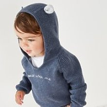 Bear with Me Hooded Jumper, Blue, 0-3mths