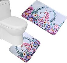 Bearbae 2 Piece Bath Mat Set Bathroom Pedestal Rug