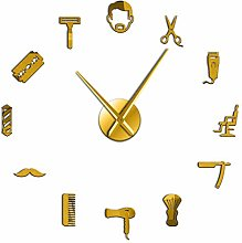 Beard Style Barber Shop Large Size Wall Clock Male
