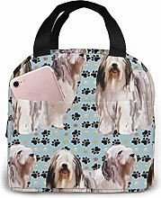 Bearded Collies and Paw Prints Lunch Bag for Women