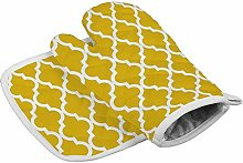 Bearget Mustard Yellow Moroccan Pattern Oven Mitts