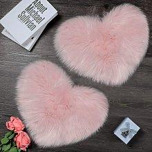 Bearsu - 2 Piece Fluffy Faux Sheepskin Rug Heart