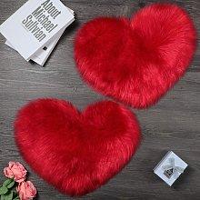 Bearsu - 2 Pieces Fluffy Faux Sheepskin Rug Heart