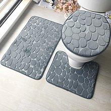 Bearsu - 2 Pieces Non-slip Stand Bath Mat Set
